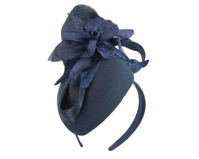 Bespoke navy pillbox winter fascinator with flower by Fillies Collection Fascinators.com.au