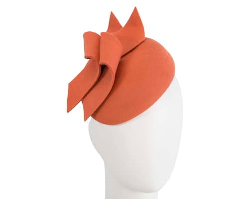 Burnt orange felt winter pillbox fascinator by Max Alexander Fascinators.com.au