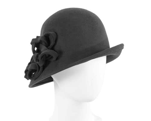 Black felt cloche hat with original trim Fascinators.com.au