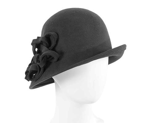Black felt cloche hat with original trim Fascinators.com.au