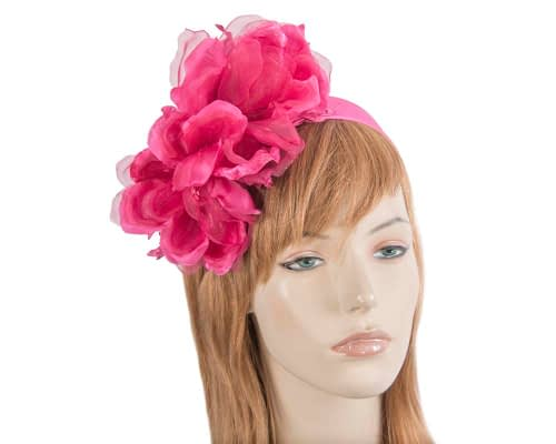 Large fuchsia flower headband fascinator by Fillies Collection Fascinators.com.au