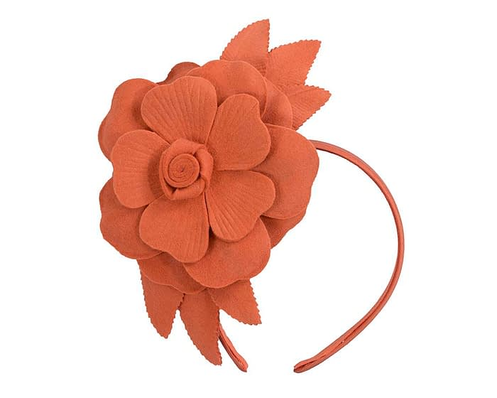 Burnt orange felt flower winter fascinator by Max Alexander Fascinators.com.au