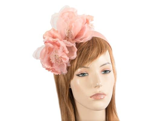 Large pink flower headband fascinator by Fillies Collection Fascinators.com.au