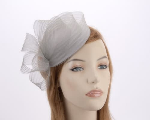 Silver fascinator pillbox for special occasion K5013S Fascinators.com.au