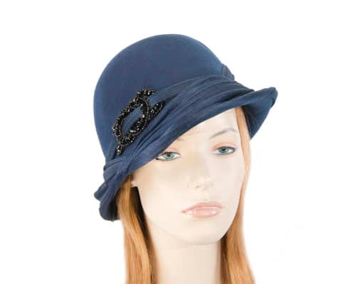 Australian made navy felt bucket hat Fascinators.com.au