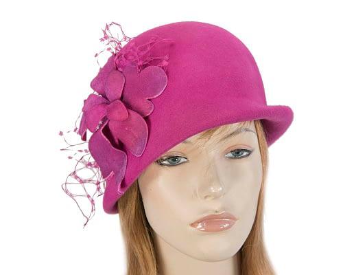 Fuchsia cloche ladies fashion hat with flower Fascinators.com.au