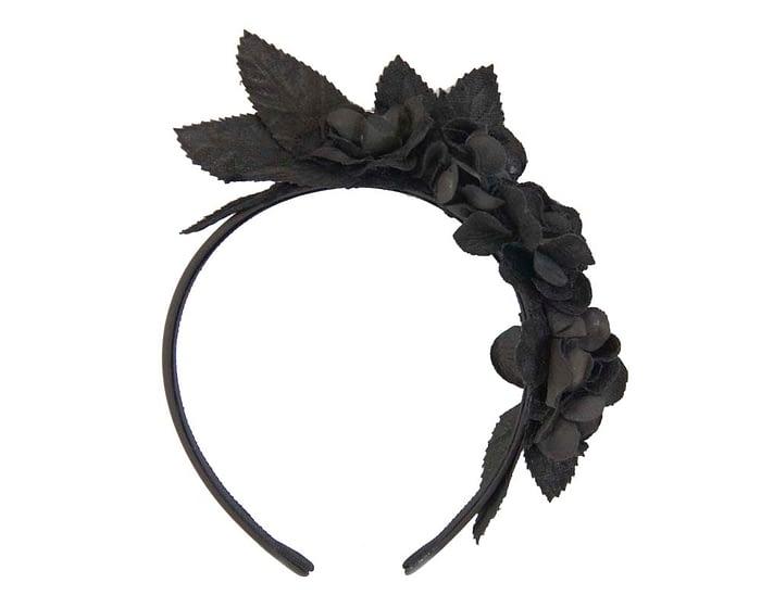 Black flower headband fascinator Fascinators.com.au