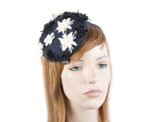 Small round navy winter pillbox Max Alexander J296N Fascinators.com.au