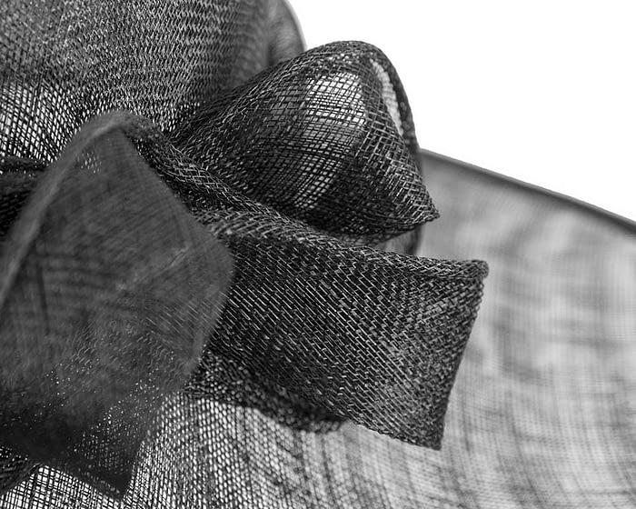 Wide brim black sinamay racing hat by Max Alexander Fascinators.com.au