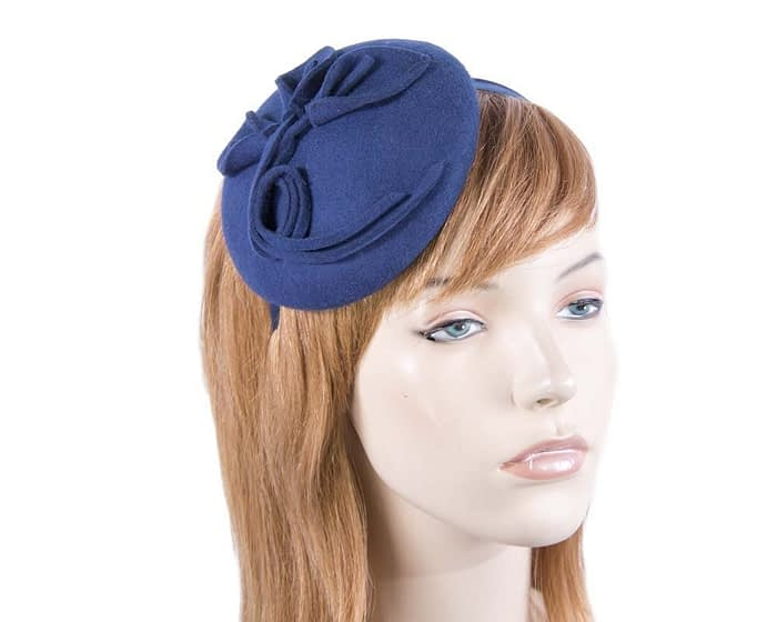 Small navy felt winter pillbox Max Alexander J297N Fascinators.com.au