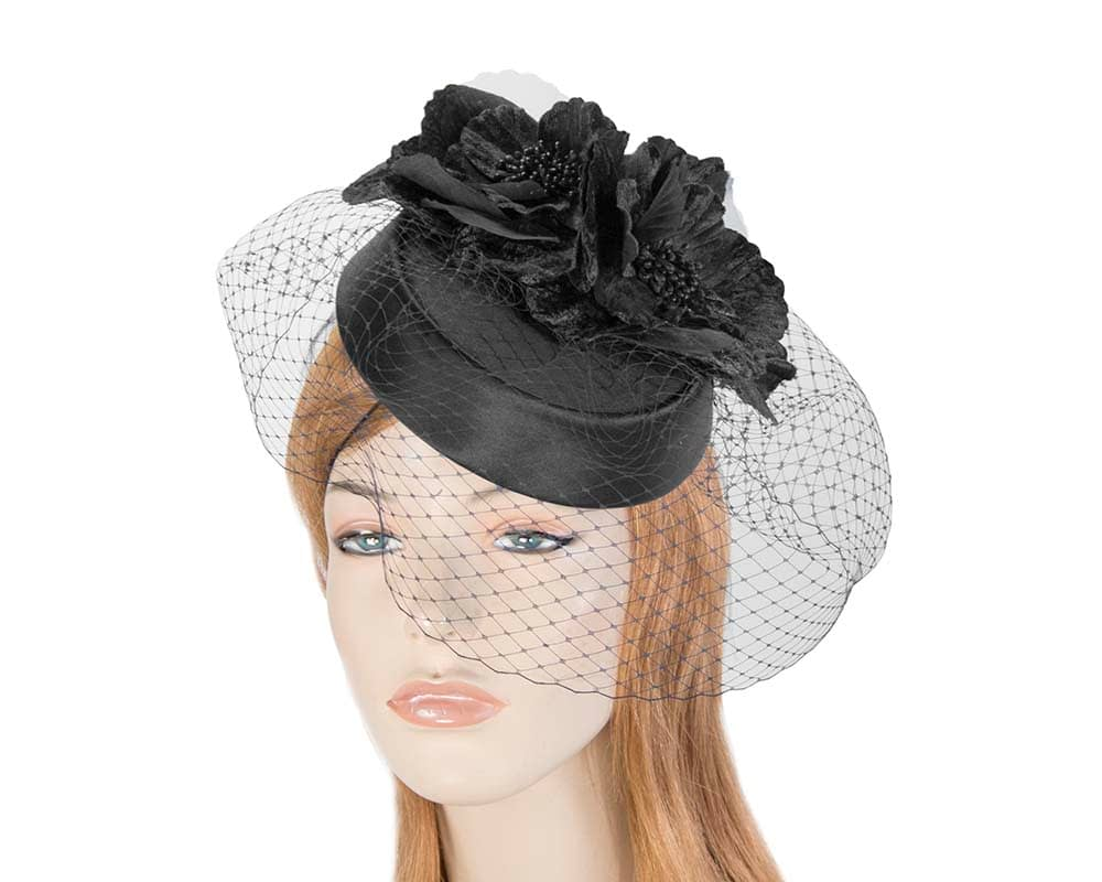 Black pillbox hat with flowers and veil by Cupids Millinery Fascinators.com.au