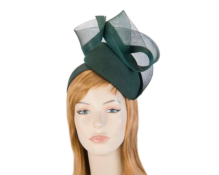 Olive green pillbox with crinoline trim Fascinators.com.au