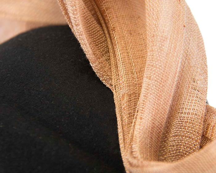 Black & nude felt stewardess pillbox with silk abaca bow Fascinators.com.au