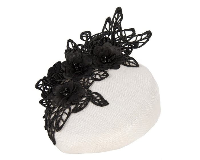 Cream & black lace pillbox fascinator Fascinators.com.au