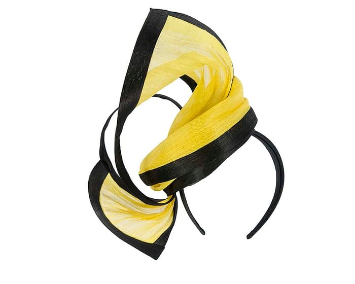 Yellow black Melbourne Cup fascinator by Fillies Collection S159YB Fascinators.com.au