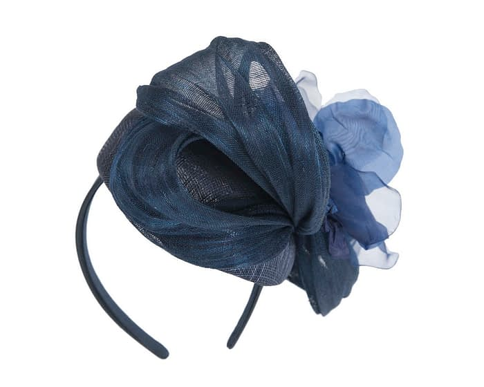 Navy flower pillbox racing fascinator by Fillies Collection Fascinators.com.au
