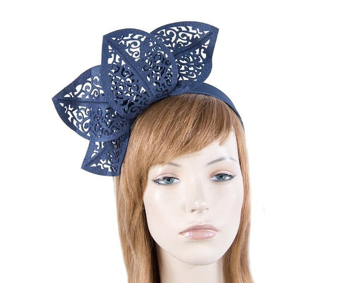 Modern navy fascinator for races by Max Alexander MA681N Fascinators.com.au