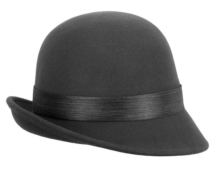 Black ladies felt cloche hat by Fillies Collection Fascinators.com.au