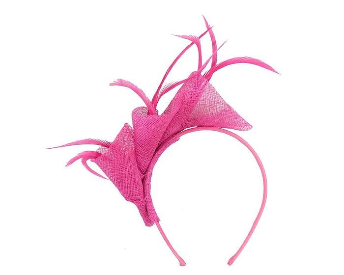 Fuchsia sinamay twists with feathers fascinator Fascinators.com.au