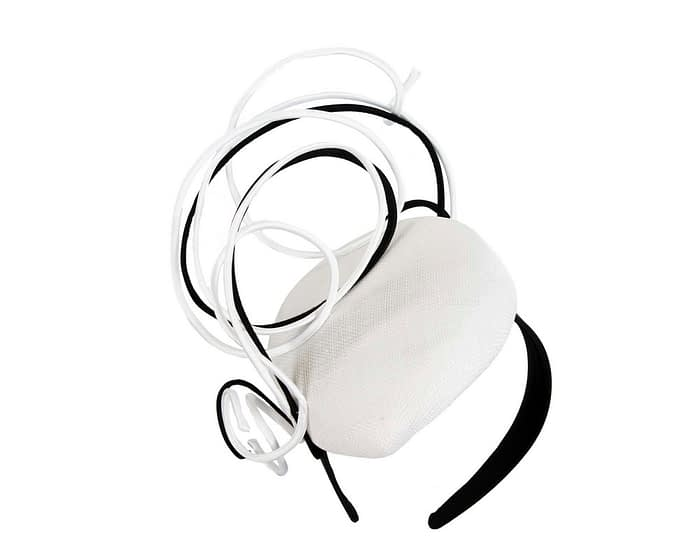Bespoke white & black wire loops pillbox racing fascinator by Fillies Collection Fascinators.com.au
