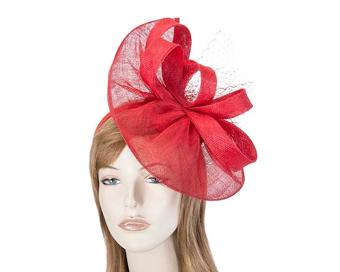Large red sinamay fascinator by Max Alexander Fascinators.com.au