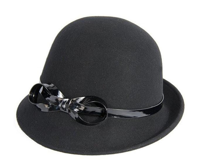 Black felt cloche hat Fascinators.com.au