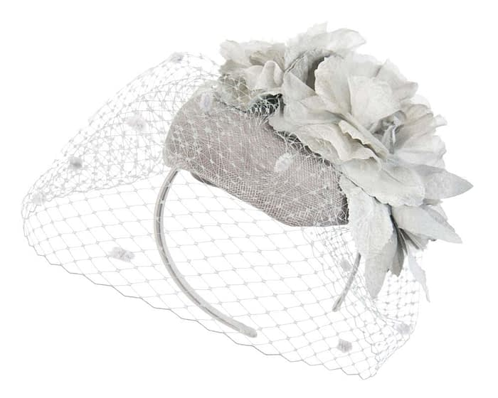 Silver flower pillbox with face veiling Fascinators.com.au