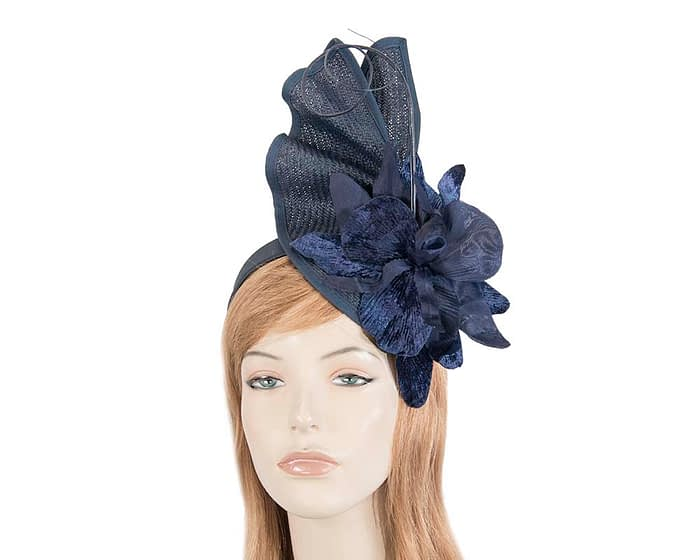 Navy fascinator with flower Fascinators.com.au