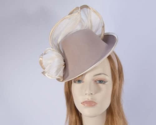 Beige felt fascinator F555BE Fascinators.com.au