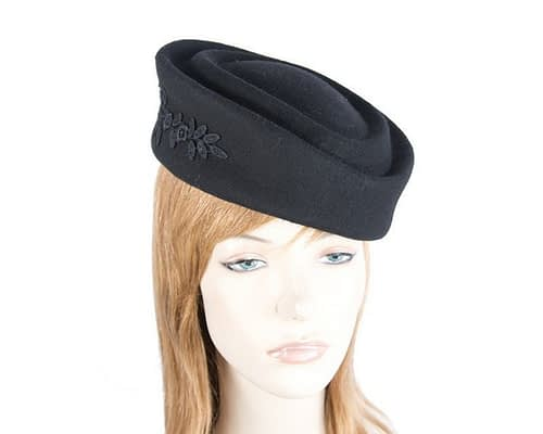 Large black felt beret hat Fascinators.com.au J332 black