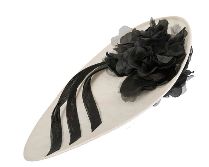 Large cream & black racing hatinator by Fillies Collection Fascinators.com.au