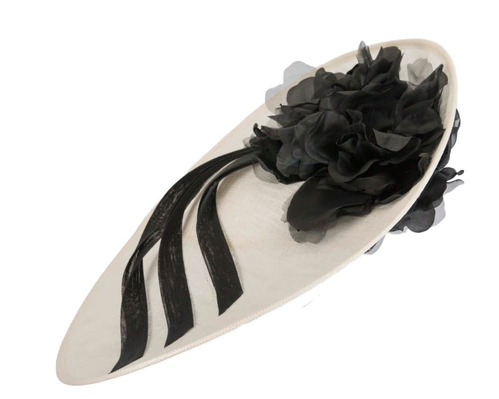 Large black & cream feather flower fascinator by Max