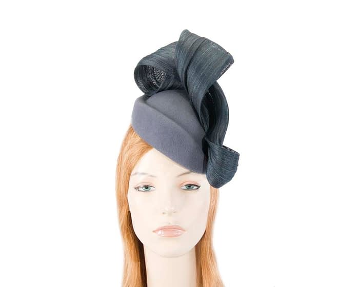 Blue grey felt stewardess pillbox with silk abaca bow Fascinators.com.au