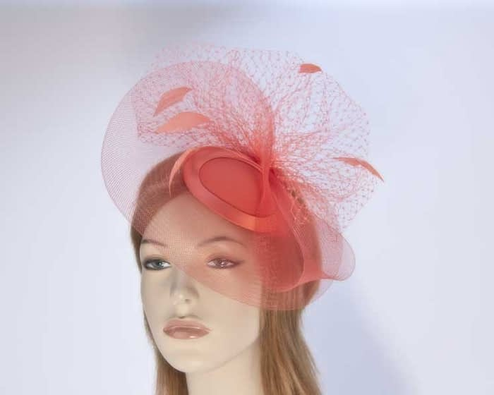 Coral mother of the bride hat Fascinators.com.au