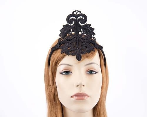 Small black crown lace fascinator for races MA670AB Fascinators.com.au
