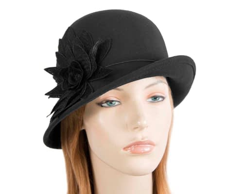 Black winter felt cloche hat with lace flower by Max Alexander Fascinators.com.au J365 black