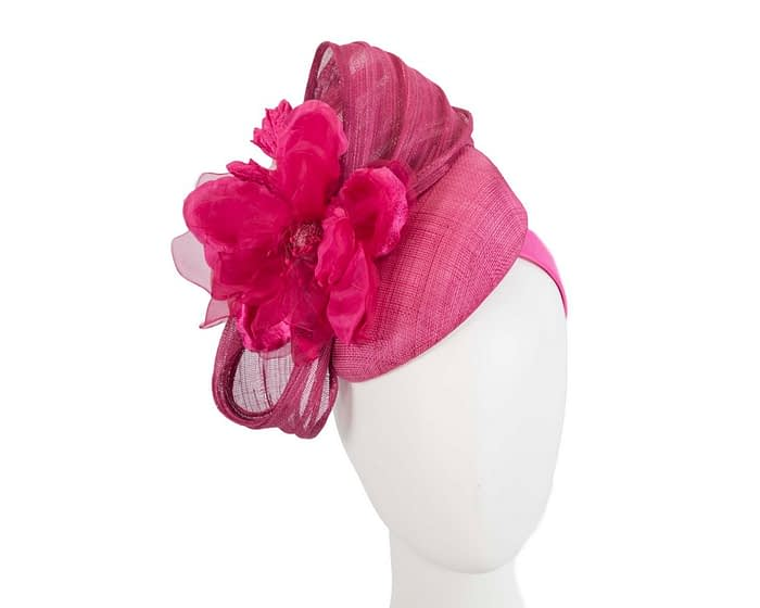 Fuchsia flower pillbox racing fascinator by Fillies Collection Fascinators.com.au