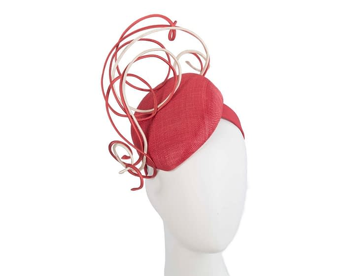 Bespoke red & nude wire loops pillbox racing fascinator by Fillies Collection Fascinators.com.au