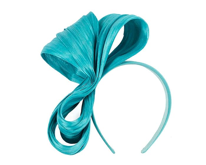 Large turquoise bow racing fascinator by Fillies Collection Fascinators.com.au