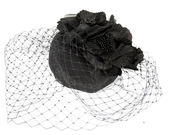 Black flower pillbox with face veiling Fascinators.com.au