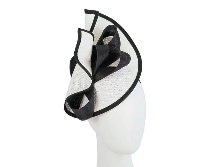 White & Black designers racing fascinator with bow by Fillies Collection Fascinators.com.au
