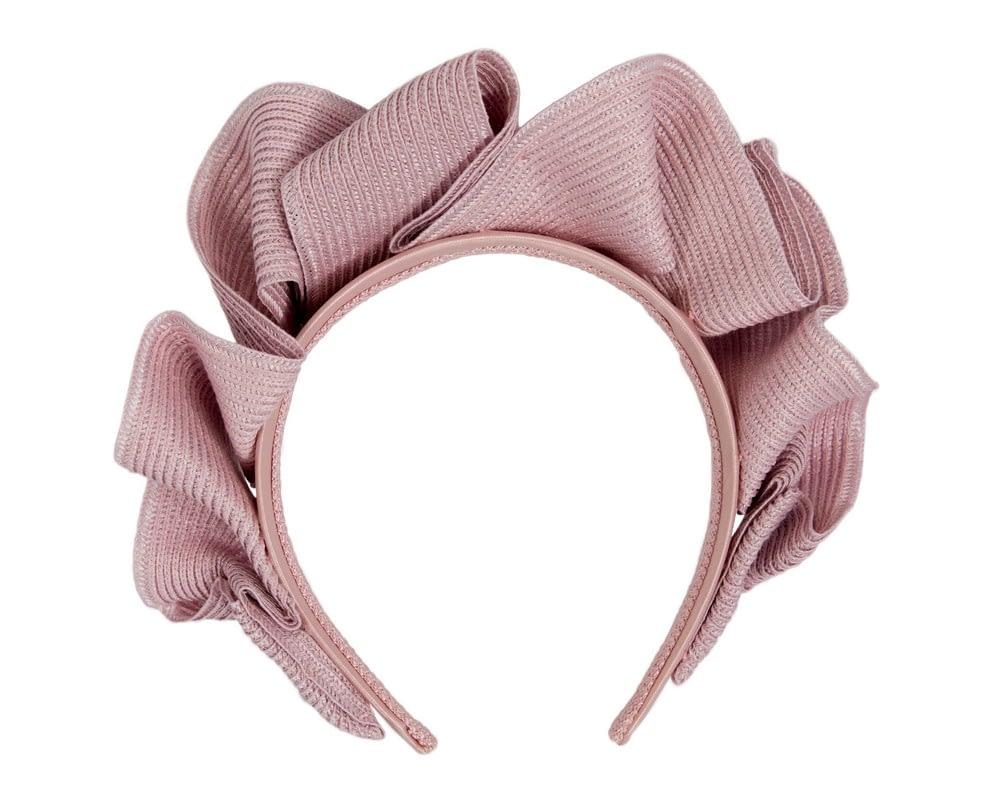 Dusty Pink PU Braid Crown Fascinator By Max Alexander