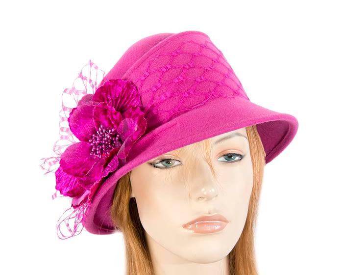Fuchsia ladies felt winter hat with flower F569F Fascinators.com.au