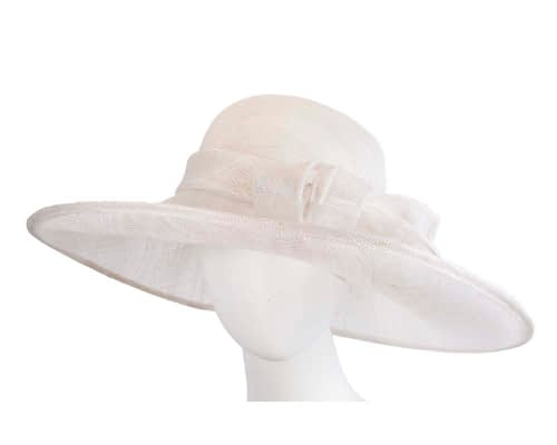 Wide brim white sinamay racing hat by Max Alexander Fascinators.com.au