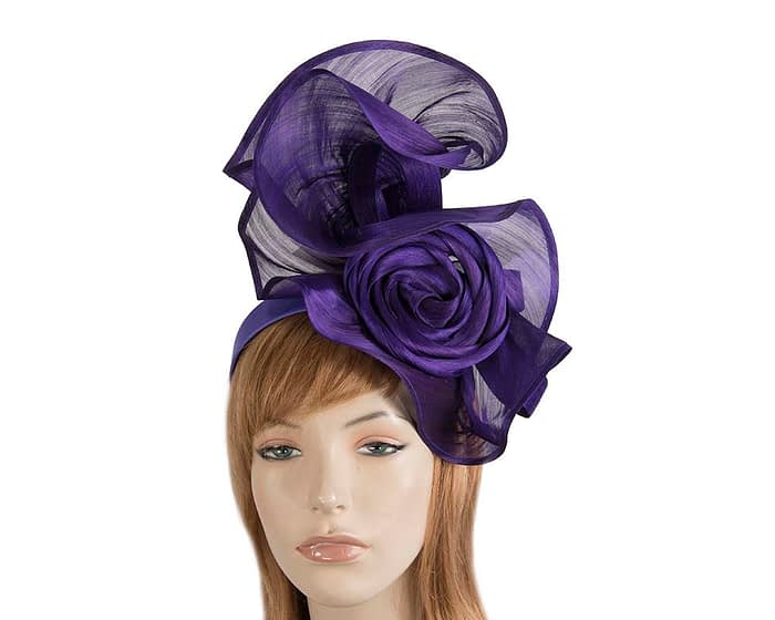 Exclusive purple silk abaca racing fascinator Fascinators.com.au