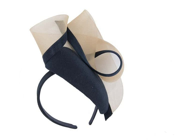 Navy & nude pillbox with crinoline trim Fascinators.com.au