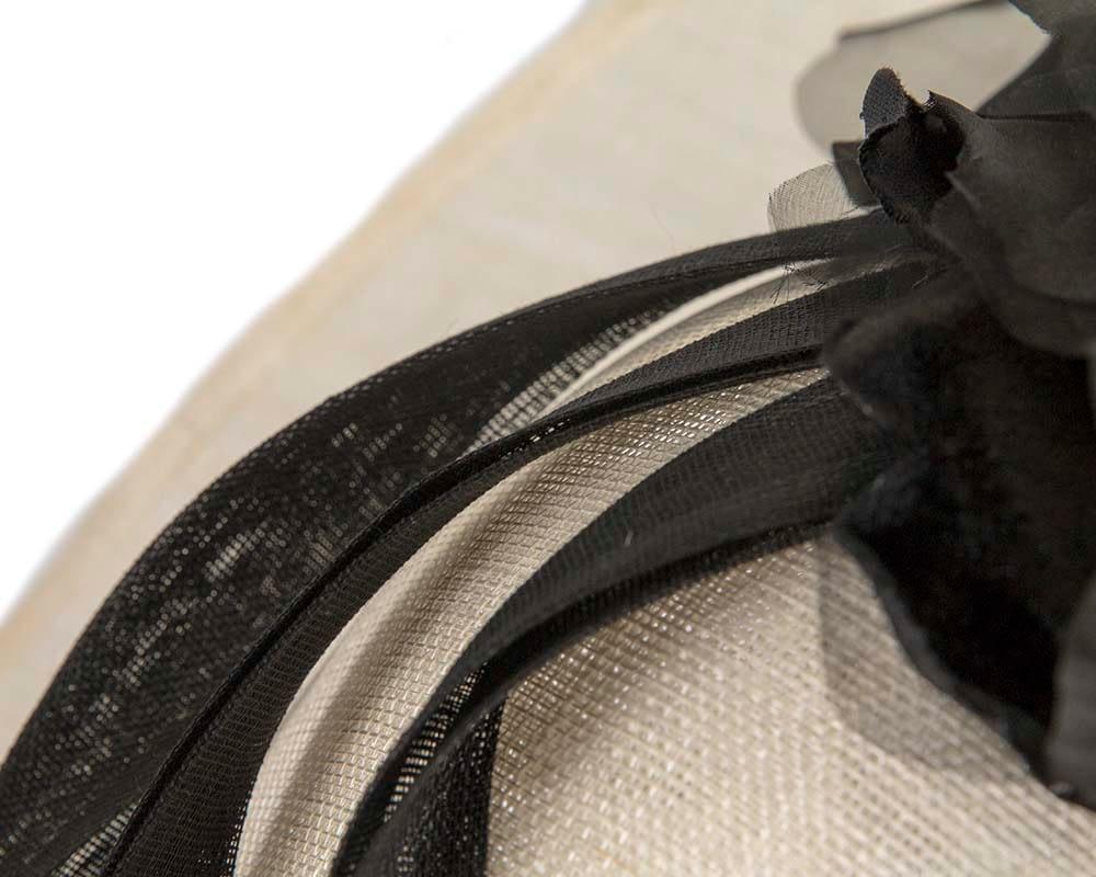 Wide Brim Black Racing Hat With Flower By Max Alexander