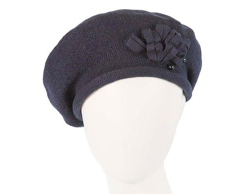 Classic warm navy wool beret. Made in Europe Fascinators.com.au