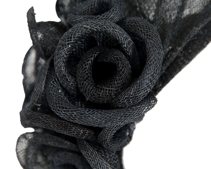 Black sinamay flower headband fascinator by Max Alexander Fascinators.com.au