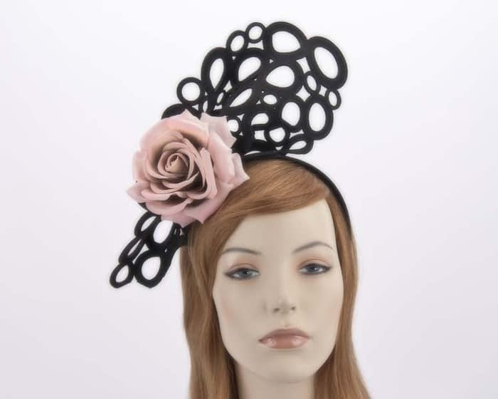 Black pink racing fascinator S140BP Fascinators.com.au